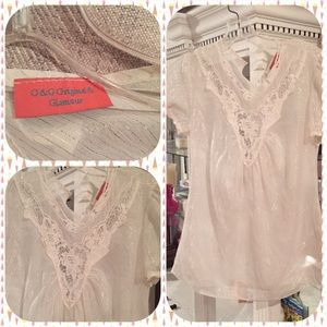 O & G sheer short sleeve blouse